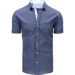 Koszule męskie na spinki: Granatowa koszula męska w kratę (kx0831)