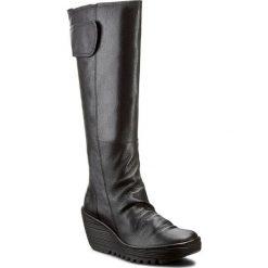 Kozaki FLY LONDON - Yulofly P500688004 Black. Czarne kowbojki damskie Fly London, z materiału, przed kolano, na wysokim obcasie. Za 739,00 zł.