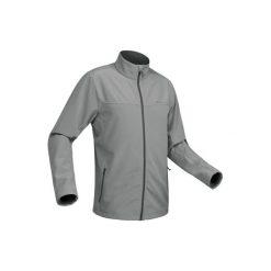 Kurtka Softshell trekkingowa Trek 100 WindWarm męska. Szare kurtki męskie outdoor marki QUECHUA, m, z elastanu. Za 99,99 zł.
