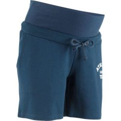 Szorty dresowe ciążowe bonprix ciemnoniebieski. Niebieskie spodnie ciążowe marki bonprix, w paski, z dżerseju. Za 54,99 zł.