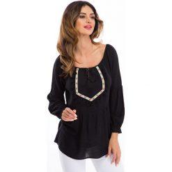 Czarna bluzka w stylu boho 8417. Czarne bralety marki Fasardi, l, boho. Za 55,20 zł.