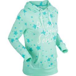 Bluzy damskie: Lekka bluza w gwiazdki, długi rękaw bonprix jasny miętowy melanż