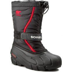 Buty zimowe chłopięce: Śniegowce SOREL – Youth Flurry NY 1885-015 Black/Bright Red