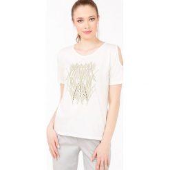T-shirt w stylu safari II. Szare t-shirty damskie Monnari, z nadrukiem, z bawełny. Za 47,60 zł.