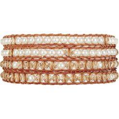Bransoletki damskie: Skórzana bransoletka z koralikami w kolorze pomarańczowo-białym
