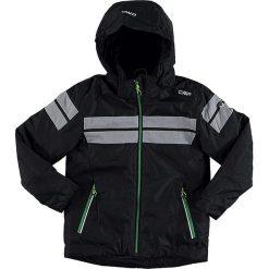 Kurtka narciarska w kolorze czarno-szarym. Czarne kurtki chłopięce marki CMP Kids, z materiału. W wyprzedaży za 245,95 zł.
