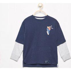 Odzież chłopięca: Koszulka z podwójnym rękawem – Granatowy