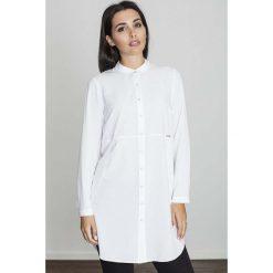 Bluzki, topy, tuniki: Biała Koszula -Tunika Zapinana Na Zatrzaski