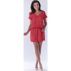 Różowa Sukienka z Dekoltem na Plecach. Różowe sukienki letnie marki numoco, l, z dekoltem w łódkę, oversize. Za 119,90 zł.
