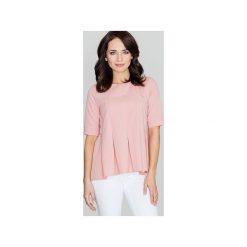 Bluzka K370 Róż. Czerwone bluzki damskie marki Lenitif, s, z okrągłym kołnierzem, z krótkim rękawem. Za 119,00 zł.