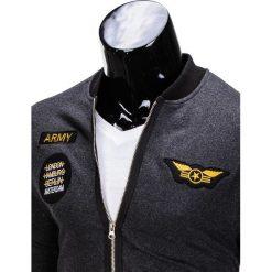 BLUZA MĘSKA ROZPINANA BEZ KAPTURA B676 - GRAFITOWA. Szare bluzy męskie rozpinane marki Ombre Clothing, m, bez kaptura. Za 69,00 zł.