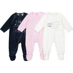 Odzież dziecięca: Komplet 3 welurowych piżam 0 miesięcy – 3 lata