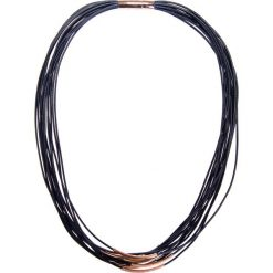 Naszyjniki damskie: Czarny naszyjnik ze złotymi tulejkami QUIOSQUE