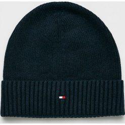 Tommy Hilfiger - Czapka. Czarne czapki zimowe męskie marki TOMMY HILFIGER, z bawełny. Za 119,90 zł.