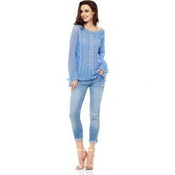 Swetry oversize damskie: Szafirowy Sweter Ażurowy z Kokardkami przy Rękawach