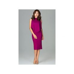 Sukienka K480 Fuksja. Czerwone sukienki na komunię Lenitif, m, z dekoltem na plecach, dopasowane. Za 179,00 zł.