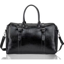 Czarna Skórzana męska torba podróżna, weekend Solier MARSHALL. Czarne torby podróżne Solier, w paski, ze skóry, na ramię. Za 639,00 zł.