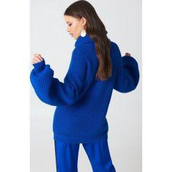 Swetry damskie: NA-KD Sweter oversize z golfem - Blue