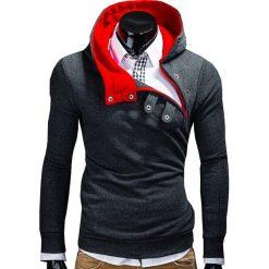 BLUZA MĘSKA Z KAPTUREM PACO - GRAFITOWA/CZERWONA. Czerwone bluzy męskie rozpinane marki KALENJI, m, z elastanu, z długim rękawem, długie. Za 69,00 zł.