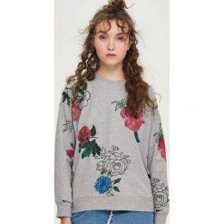 Bluzy rozpinane damskie: Bluza w kwiaty - Jasny szar