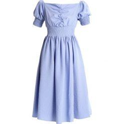 Sukienki: Lost Ink MINI STRIPE BARDOT FIT AND FLARE DRESS Sukienka letnia blue