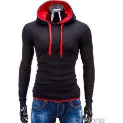 BLUZA MĘSKA Z KAPTUREM CAMILO - CZARNA/CZERWONA. Czarne bluzy męskie rozpinane Ombre Clothing, m, z bawełny, z kapturem. Za 49,00 zł.