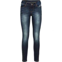 Dżinsy SKINNY z ukośnym szwem bocznym bonprix ciemny denim. Niebieskie jeansy damskie marki House, z jeansu. Za 79,99 zł.