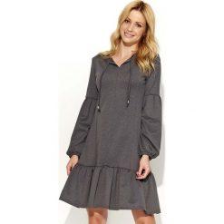 Odzież damska: Grafitowa Sukienka z Bufiastym Długim Rękawem