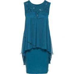 Sukienki: Sukienka z dżerseju i szyfonu bonprix ciemna zieleń morska