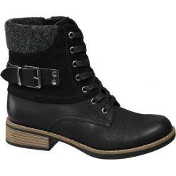 Botki damskie Graceland czarne. Czarne botki damskie na obcasie marki Graceland, w kolorowe wzory, z materiału. Za 139,90 zł.
