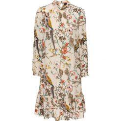 Sukienka z falbanami bonprix beżowy z nadrukiem. Brązowe sukienki na komunię bonprix, z nadrukiem, ze stójką. Za 129,99 zł.