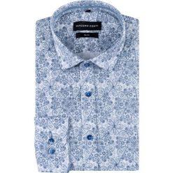 Koszula SIMONE slim KDNS000514. Niebieskie koszule męskie na spinki Giacomo Conti, m, paisley, z bawełny, z włoskim kołnierzykiem. Za 169,00 zł.