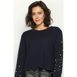 Bluzy damskie: Granatowa Bluza Bijou