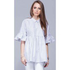 Bluzki damskie: Beżowa Luźna Wzorzysta Bluzka z Koszulowym Kołnierzykiem