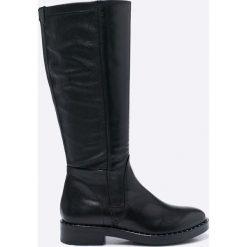 Tamaris - Kozaki. Czarne buty zimowe damskie Tamaris, z materiału, z okrągłym noskiem, na obcasie. W wyprzedaży za 239,90 zł.