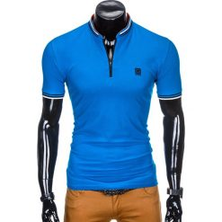 KOSZULKA MĘSKA POLO BEZ NADRUKU S916 - NIEBIESKA. Niebieskie koszulki polo Ombre Clothing, m, z nadrukiem. Za 45,00 zł.