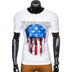 T-SHIRT MĘSKI Z NADRUKIEM S993 - BIAŁY. Czarne t-shirty męskie z nadrukiem marki Ombre Clothing, m, z bawełny, z kapturem. Za 29,00 zł.