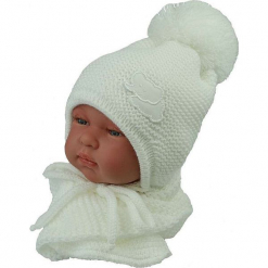 Czapka niemowlęca z szalikiem CZ+S 045A. Szare czapeczki niemowlęce Proman. Za 40,78 zł.
