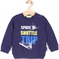 Koszulka. Niebieskie t-shirty chłopięce z długim rękawem SPACE, z aplikacjami, z bawełny. Za 24,90 zł.