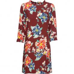Sukienka z falbanką z wiskozy, bez podszewki bonprix czerwony rubinowy w kwiaty. Czerwone sukienki na komunię bonprix, w kwiaty, z wiskozy, z falbankami. Za 59,99 zł.