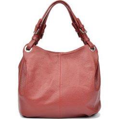 Skórzana torebka w kolorze czerwonym - (S)32 x (W)45 x (G)12 cm. Czerwone shopper bag damskie Carla Ferreri, z materiału. W wyprzedaży za 289,95 zł.