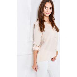 Bluzki, topy, tuniki: Szyfonowa bluzka ze złotymi dodatkami