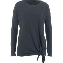 Swetry klasyczne damskie: Sweter z dzianiny o gładkim splocie z przewiązaniem bonprix czarny