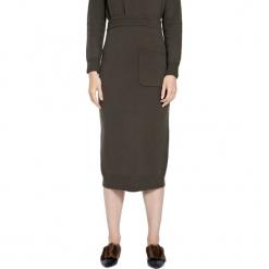 Spódnica w kolorze khaki. Brązowe spódniczki marki Deni Cler, z denimu, midi, proste. W wyprzedaży za 319,95 zł.