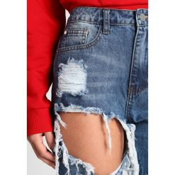 Boyfriendy damskie: Missguided Petite RIOT HIGH RISE RIPPED  Jeansy Slim Fit blue