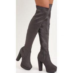 Szare Kozaki Give Me Hug. Szare buty zimowe damskie marki Born2be, na wysokim obcasie, na słupku. Za 169,99 zł.