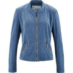 Kurtka ze sztucznej skóry welurowej bonprix niebieski dżins. Niebieskie kurtki damskie bonprix, w prążki, z dzianiny. Za 109,99 zł.