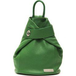 Plecaki damskie: Skórzany plecak w kolorze zielonym – (S)34 x (W)34 x (G)14 cm