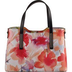 Torebki klasyczne damskie: Skórzana torebka z kolorowym wzorem – 32 x 22 x 12 cm