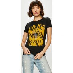 Guess Jeans - Top Daisy. Brązowe topy damskie marki Guess Jeans, m, z aplikacjami, z bawełny, z okrągłym kołnierzem. Za 189,90 zł.